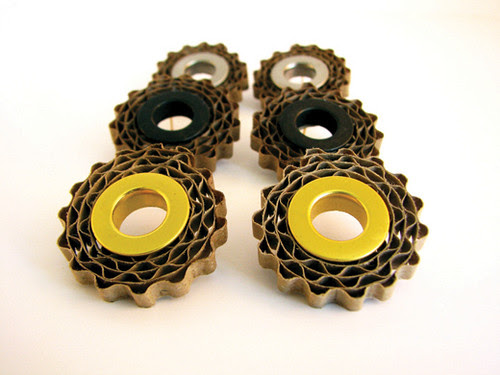 Carton earrings with gold, silver filler tubes