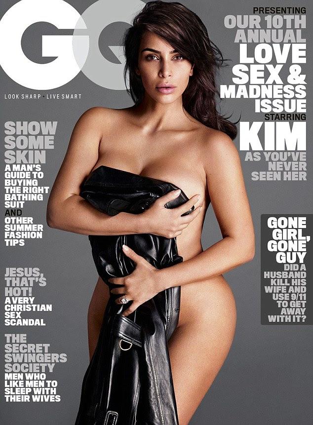 Curvas adiante: Kim posou nua para a sua primeira capa de sempre da revista GQ