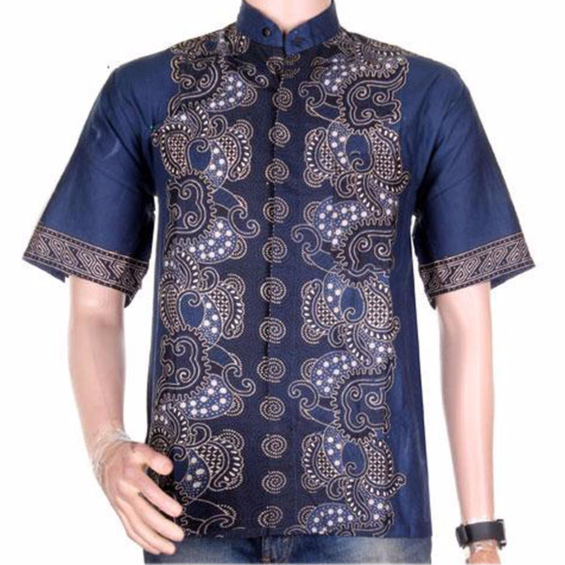 ... XL Lasido Baju Batik Koko Muslim Lengan Pendek ZO11 Kemeja Fashion Pria  Fashionable Shirt Clothes Man Katun af0835ed98