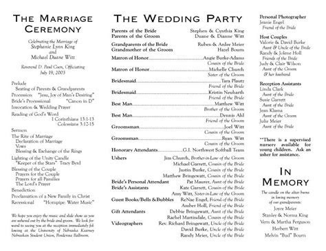 Wedding Programs   Wedding Program, inside outside