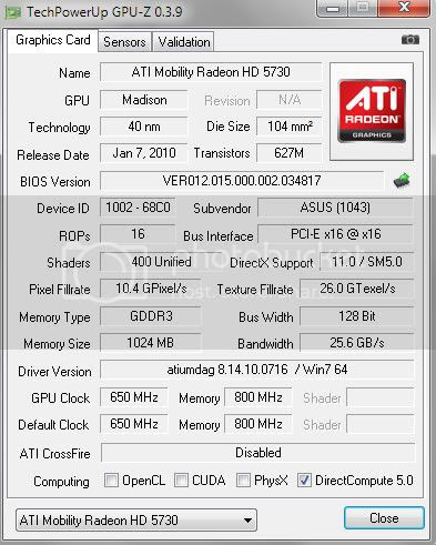 grafička kartica ATI Mobility Radeon HD5730