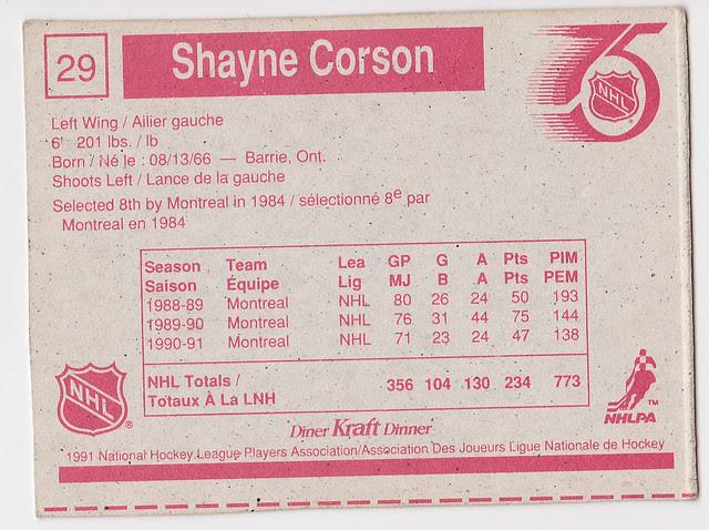 Kraft Dinner - Shayne Corson - Back