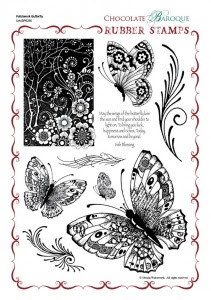 Patchwork Butterfly Rubber Stamp Sheet - A4