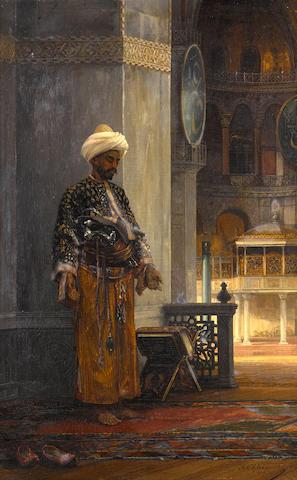 Stanislaus von Chlebowski (Polish, 1835-1884) The prayer 17 3/4 x 11 1/2in (45 x 29.5cm)