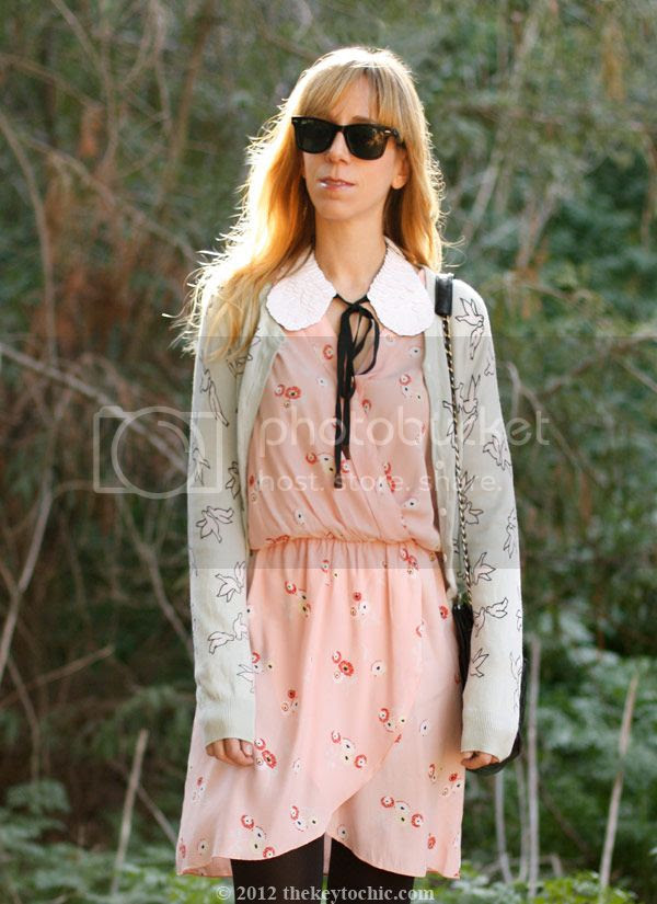 Marni at H&M sequin collar, Love wrap dress, H&M bird print cardigan, Los Angeles fashion blog