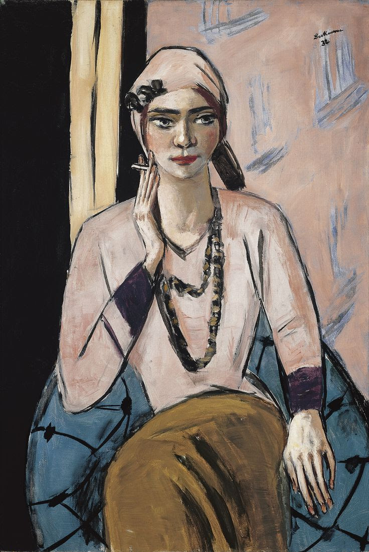 'Quappi in a Pink Jumper' (1932-34) by German artist Max Beckmann (1884-1950). Oil on canvas, 105 x 73 cm. via Museo Thyssen-Bornemisza, Madrid