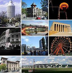 Trên: Anıtkabir; Giữa bên trái: Tháp Atakule, Giữa nằm ở giữa: Quốc hội Thổ Nhĩ Kỳ, Giữa bên phải: Bảo tàng Ethnography và tượng Atatürk; Dưới: Quảng trường Kızılay.