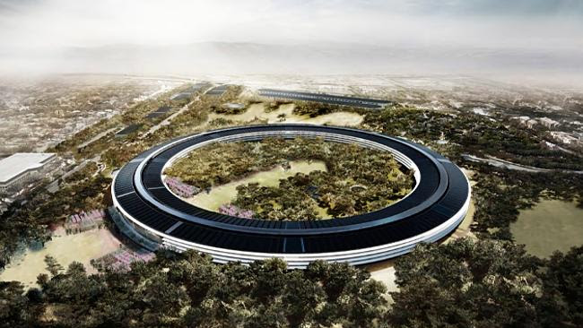 The imposing circular main building designed by Sir Norman Foster will be Apple's new home by 2016. Source: City of Cupert