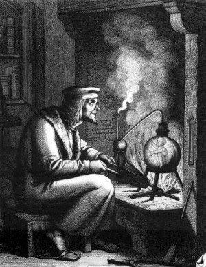 Grabado del siglo 19 de homúnculo de Goethe Faust parte II
