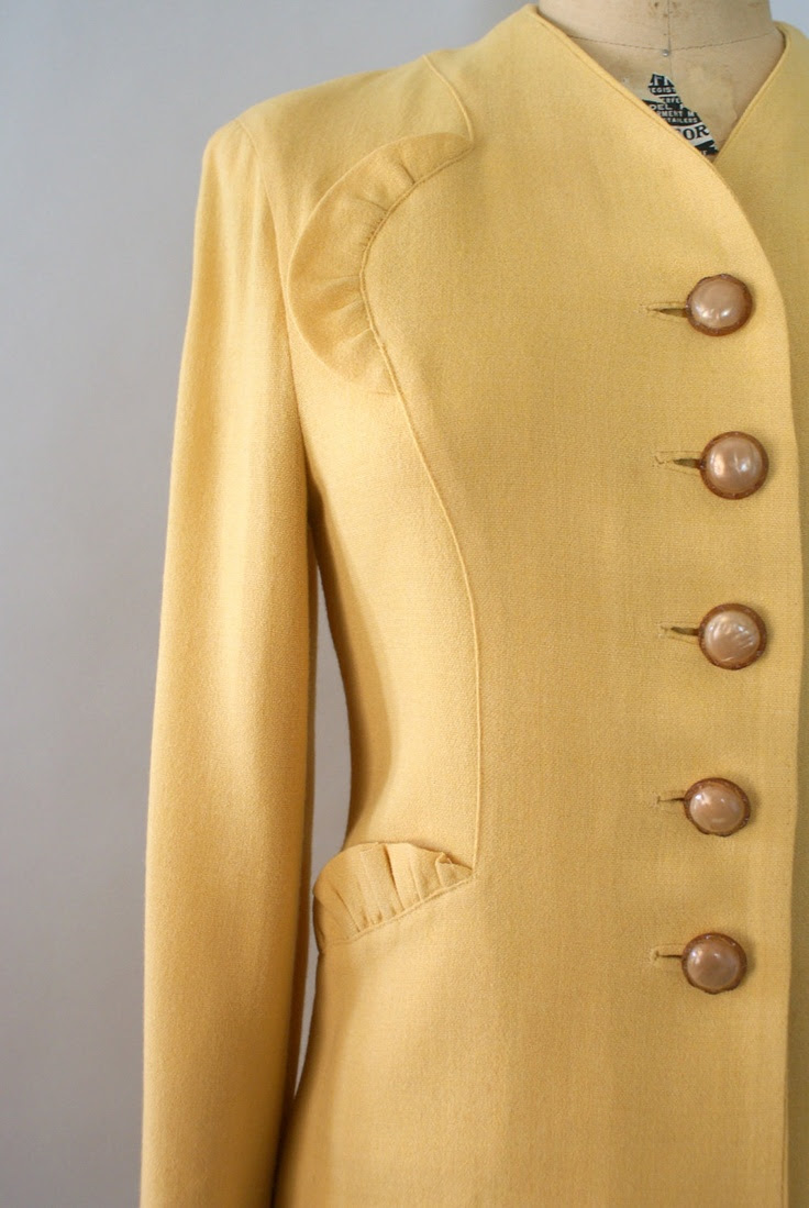 Detailing.  Vintage 1940s Wool Skirt Suit -  Golden Wheat Yellow  Wool Dress Suit Jacket and Skirt.