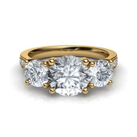 Three Stone Trellis Engagement Ring with Pave Diamonds