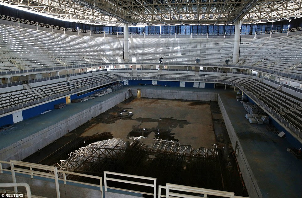 The aquatics stadium, used for last year's Olympic and Paralympic Games, is currently in a state of disrepair. It was set to be dismantled and turned into two schools, but there is no sign of this coming to fruition