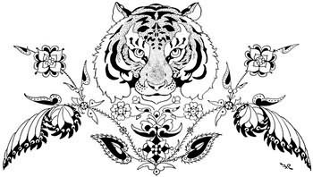 Tiger Head And Flowers Tattoo Design