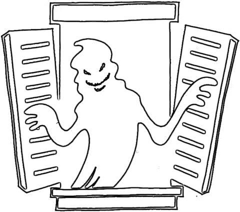 Dibujo De Fantasma En La Ventana Para Colorear Dibujos Para