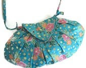Turquoise Pink Floral Bag - BitsysBaubles