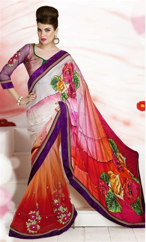 Red and White Color Flower Design Saree   Indian beauty