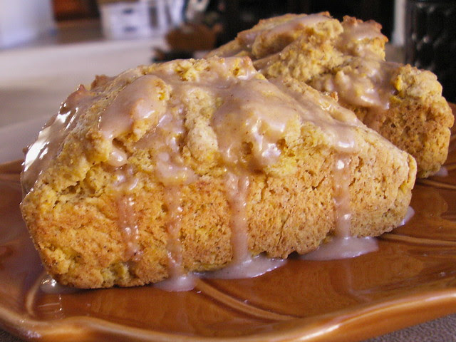 Pumpkin Scones with Spice Glaze