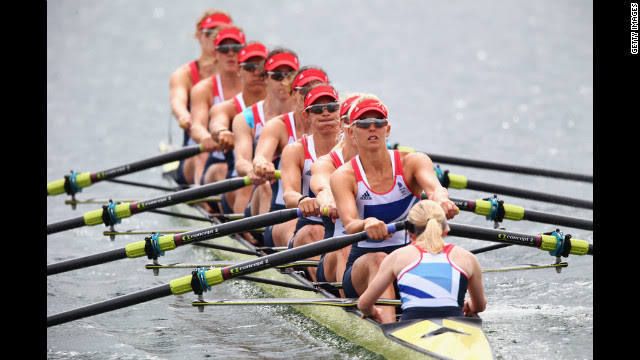 Great Britain competes in the women's eight rowing Tuesday in Windsor, England.