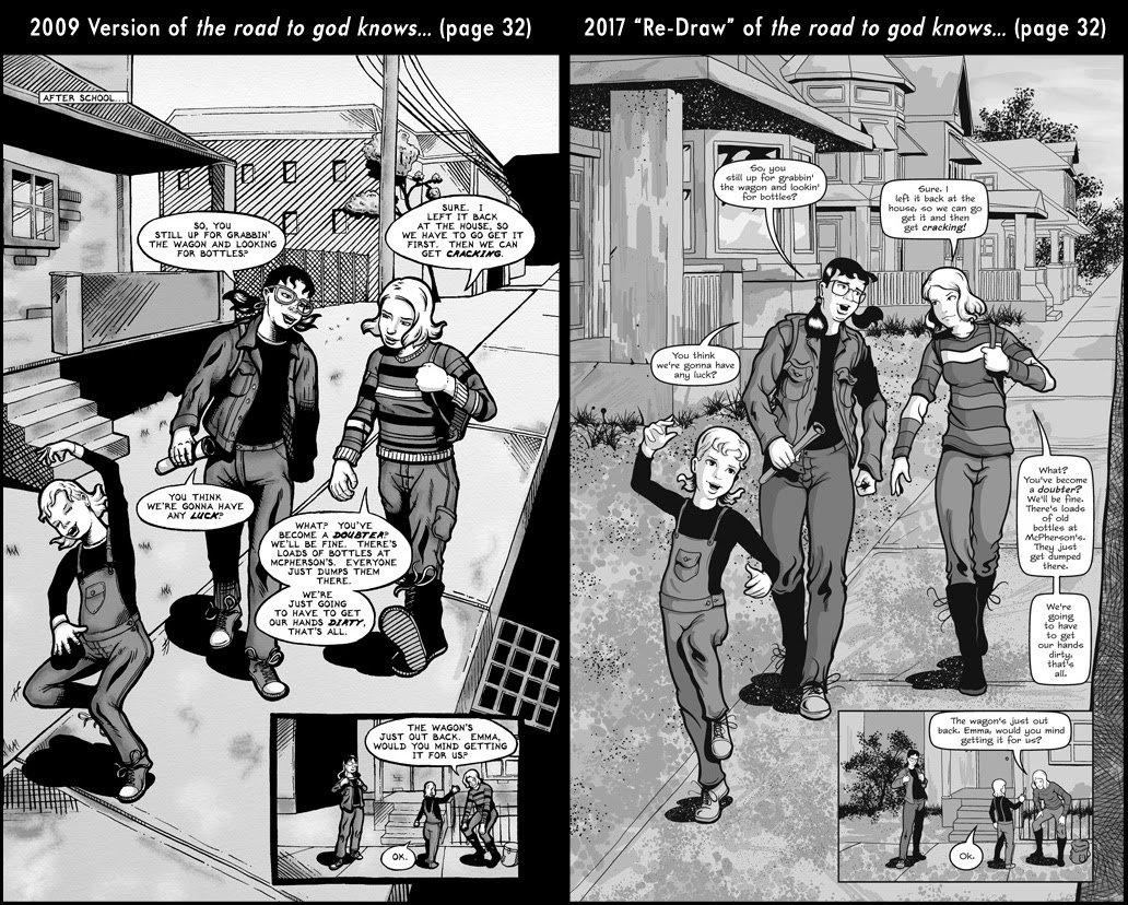 Comparison between page 32 from the 2009 published version of the road to god knows... and the 2017 redrawn version by Von Allan