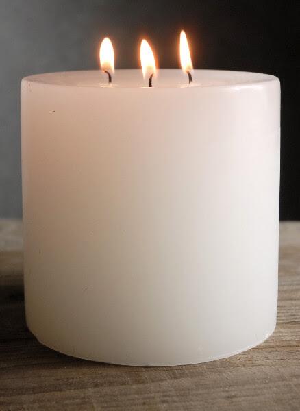 5x5 White Pillar Candle 3 Wicks 80 hr burntime