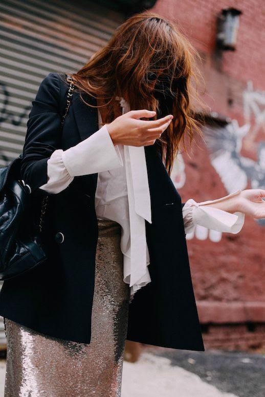 Le Fashion Blog White Feminine Blouse Black Blazer Sequin Skirt Via Natalie Off Duty