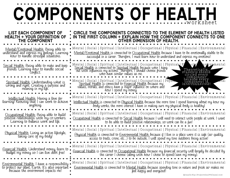 Components of Health Lesson Plans // Part 1 - Project ...