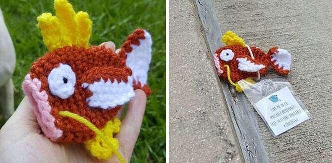 Mulher cria crochês de Pokémon e os espalha por Pokestops de sua cidade