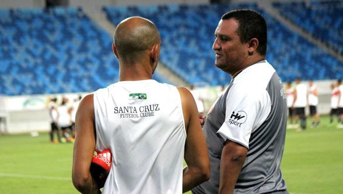Santa Cruz de Natal - Higor César, técnico - Jean Natal, meia (Foto: Diego Simonetti/Santa Cruz de Natal)