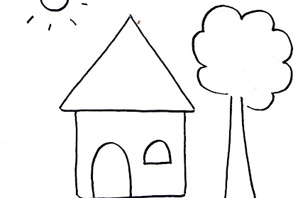 Gambar Mewarnai Rumah Dan Pohon