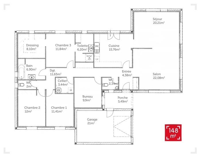 1001 plans villa contemporaine 150 m2 etage - Plan maison 5 chambres gratuit ...