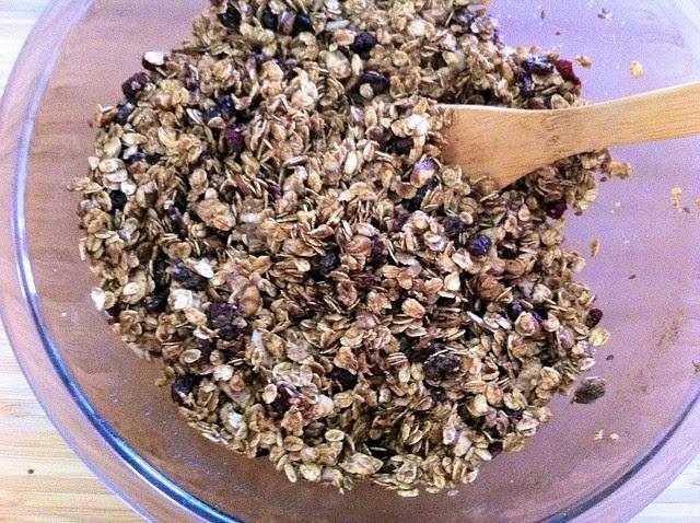 Mixing Granola Before Baking