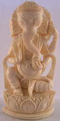النحت العاجي للألوهية الهندية غانيش - إزالة العقبات ، إله الانسجام الداخلي والنجاح والأكثر محبًا وتوقيرًا لكل الآلهة الهندوسية - جودة المتحف (3.5 بوصات)