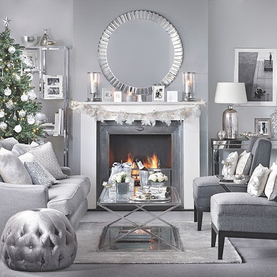 Silver and grey Christmas living room | Decorating ...