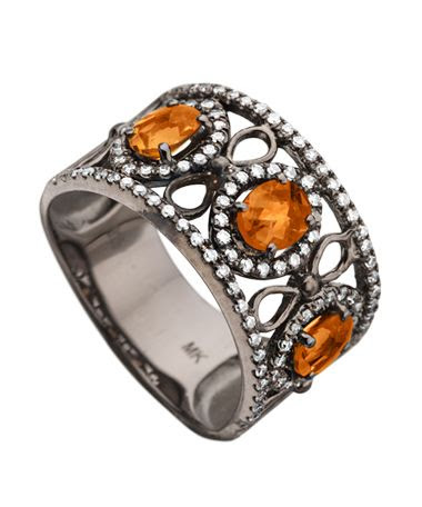 Mystic Light Diamond Citrine Wide Band Ring