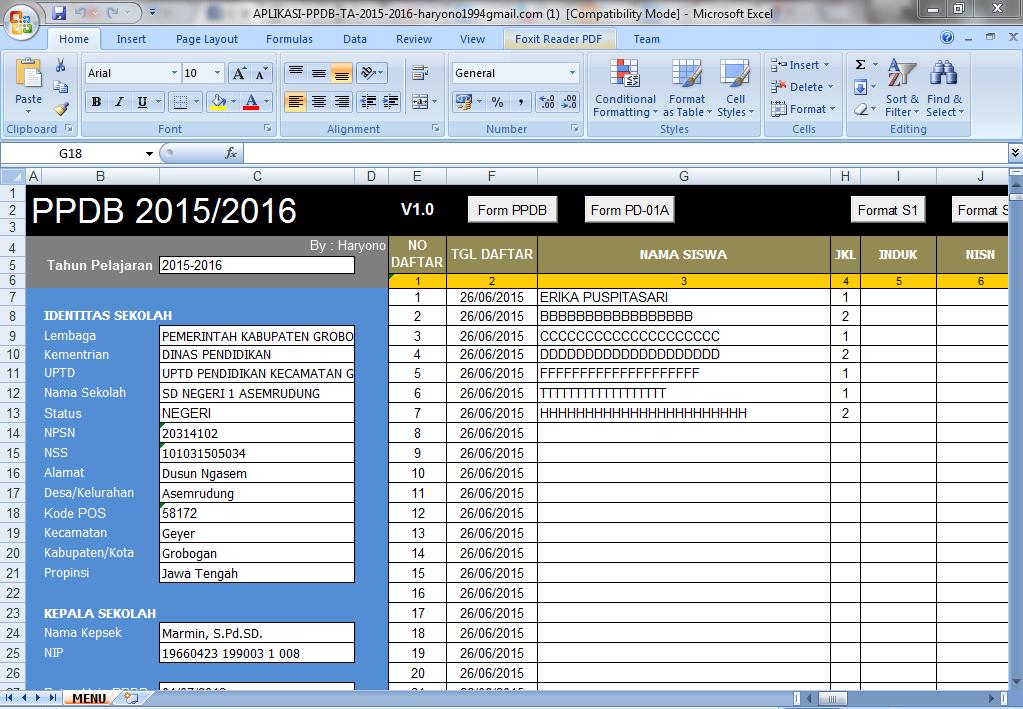 Aplikasi PPDB Microsoft Excel Tahun Pelajaran 2015 Versi Revisi