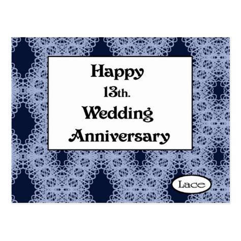 Happy 13th. Wedding Anniversary Lace Postcard   Zazzle
