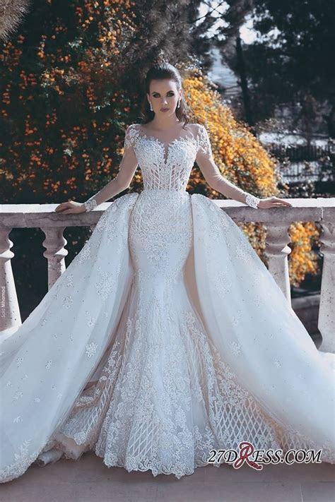glamorous long sleeve lace  wedding dress mermaid