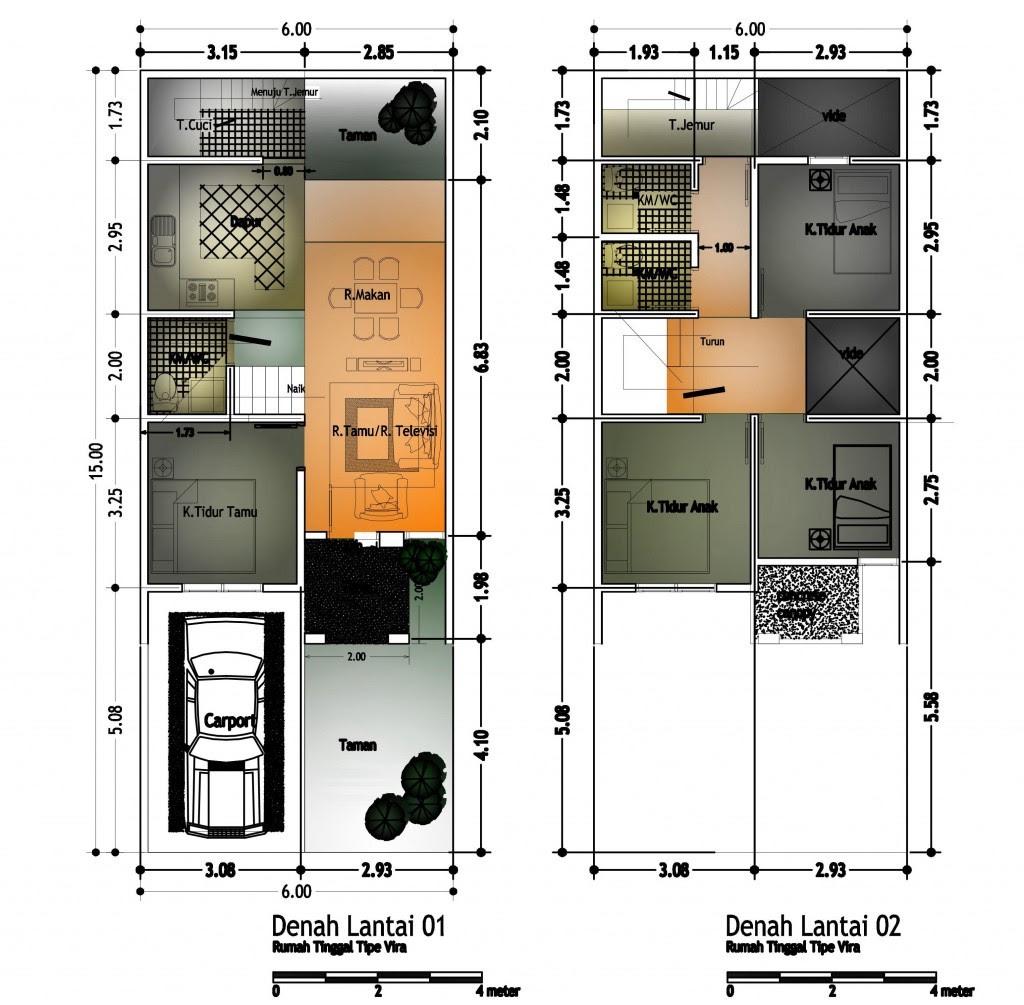 Gambar Denah Rumah Minimalis Ukuran 6x10 Terbaru 2 Lantai Desain
