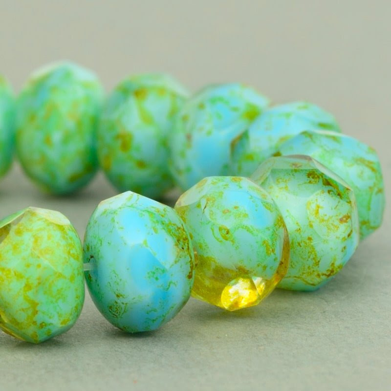 s49095 Czech Glass - 9 x 6 mm Faceted Donut Rondelle - Citrine Turquoise Mix Picasso (25)