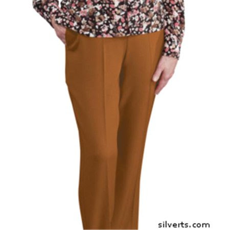 Silverts 130913306 Womens Elastic Waist Pants 2 Pockets - Ladies Pull On Pants - 42, Coffee
