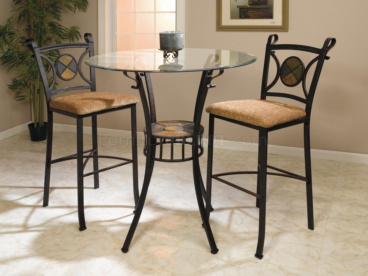 Glass Top Metal Base Counter Height Dinette w/Slate Inlays