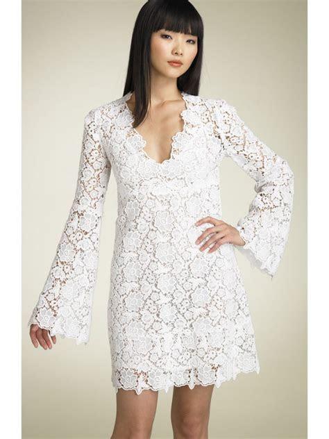 Fully Lace Wedding Dress Long Sleeves Knee Length   PRLog