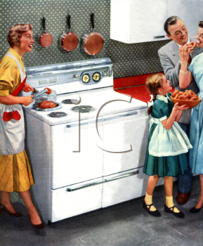 Family Enjoying Their Modern Kitchen-1950's - Royalty Free Clipart ...