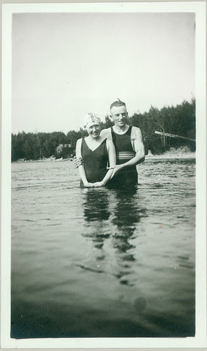 old bathing garb couple in pool