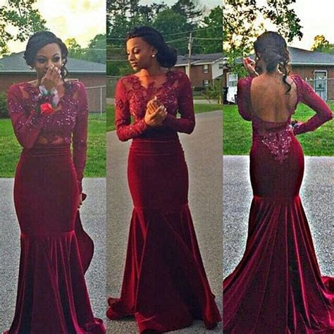 Aliexpress.com : Buy Long Sleeve Burgundy Prom Dresses