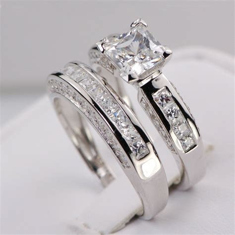 Sterling Silver 14k White Gold Princess Diamond Cut