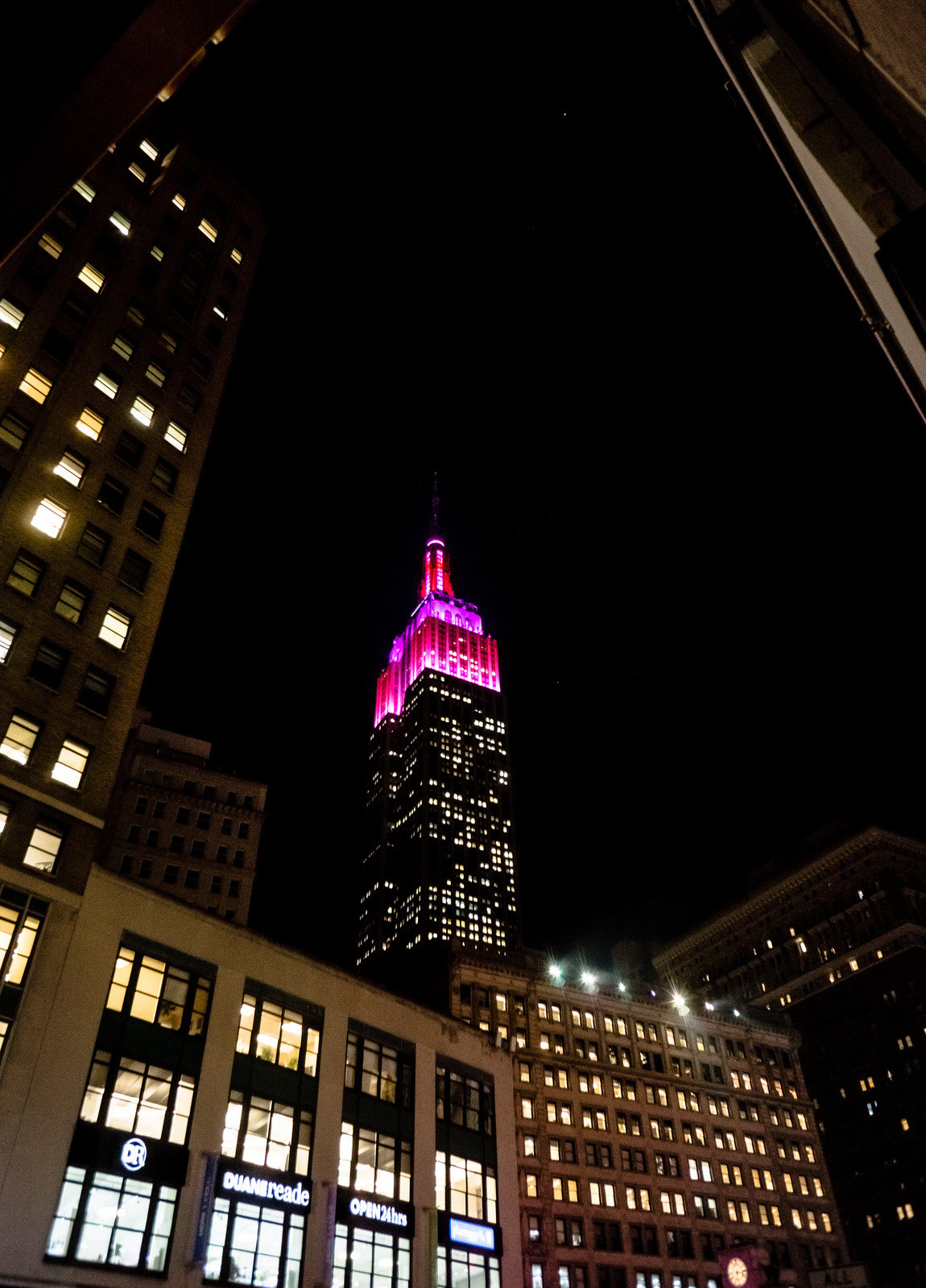 The Empire State Building for last night's Valentine Day observance. It took me awhile to recognize what neon pink stood for but they should definitely do it more often.