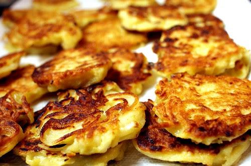 draining the potato pancakes