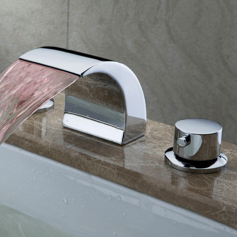 Led Waterfall Widespread Bathroom Sink Faucet Solid Brass Chrome
