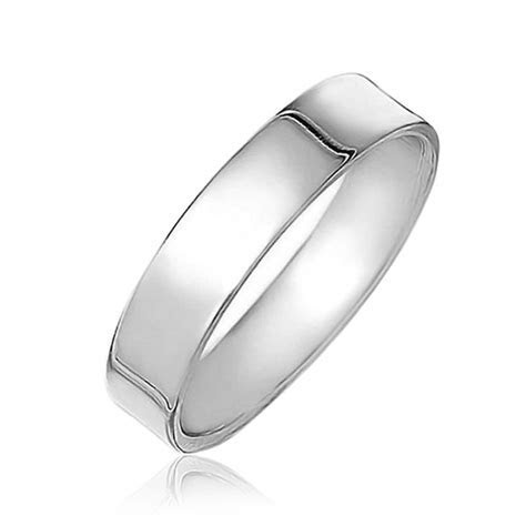 Sterling Silver Flat Wedding Band Ring Unisex 4mm